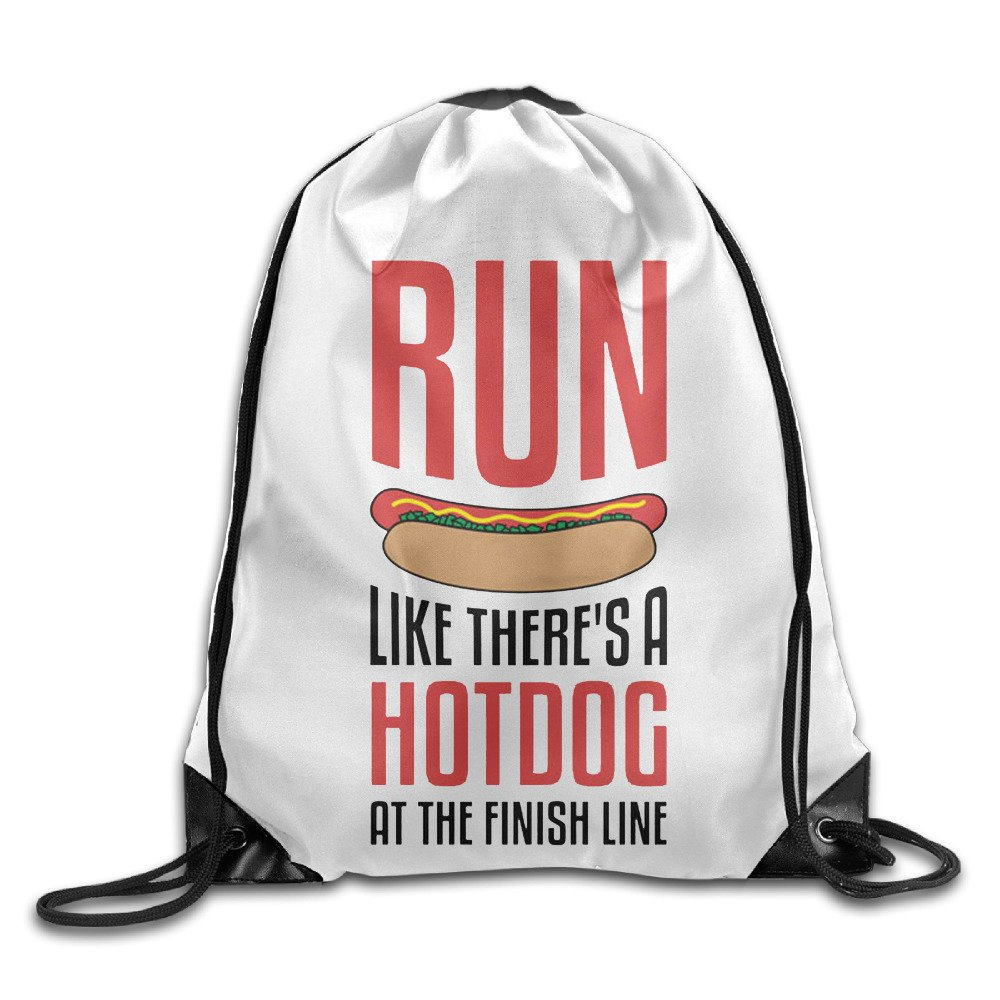 Run Like There's A Hot Dog At The Finish Line Drawstring Gym Bag School Sports
