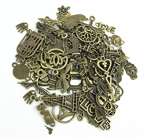 100g (70-80pcs) Mixed Charms Pendants Assorted DIY Antique Bronze Charms Pendant for Crafting Bracelet Necklace Jewelry Findings Jewelry Making Accessory (100g mixed Bronze)