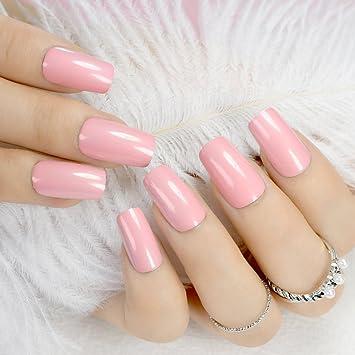 Brillante superficie rosa uñas acrílicas medias planas de uñas artificiales fácil bricolaje mujeres consejos para decoración de dedos con pegamento adhesivo ...