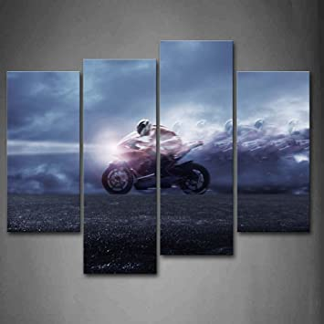 Blue Man Ride A Motorcycle Wall Art Painting Pictures Print On Canvas Car  The Picture For
