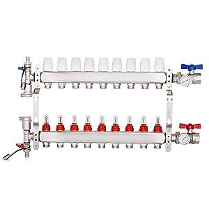 """BestEquip 9-Loop 1/2"""" Pex Manifold with Flow Meters Stainless Steel Radiant Floor Manifold Set 9-Branch Radiant Floor Heating Manifold Kit for 1/2 Inch PEX Tubing Manifold (9 Loop)"""