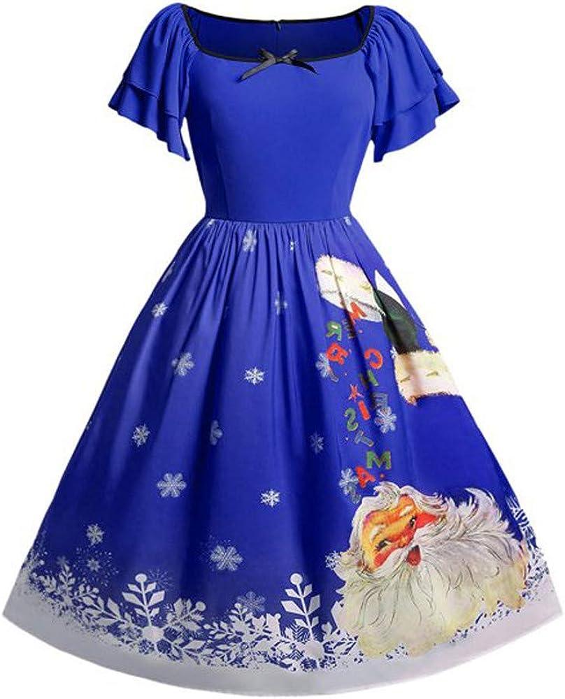 Pervobs Christmas Dress Women Plus Size Bow Santa Claus Print Swing Xmas Dress