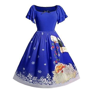 b8c22b3f808 DAY8 Robe de Soirée Femme Chic Grande Taille Robe Noël Femme Manche Courte  Midi Robe Hiver