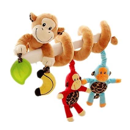 GZQES 1x Bebé Espiral Juguete de Cochecito de Cama Felpa Familia de Monos Educativo Juguete Colgando Sonajero para Asiento de Carro Cuna Móvil por ...