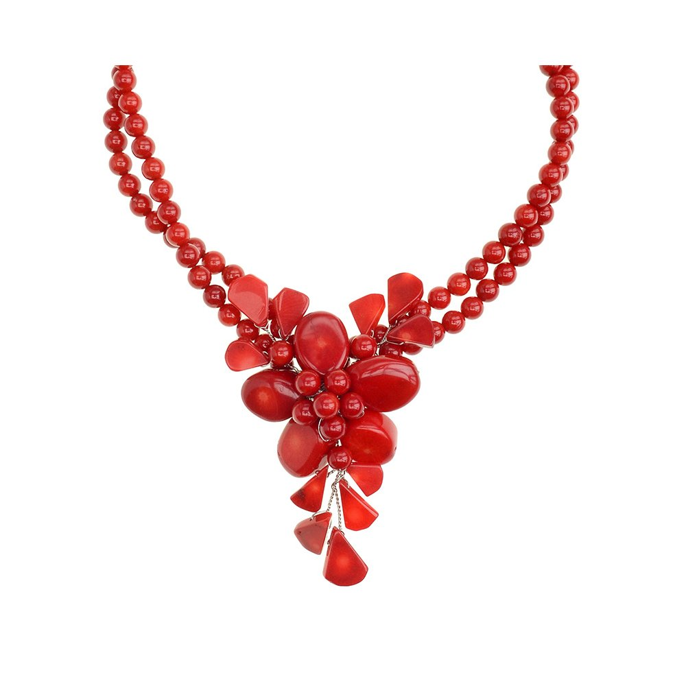 Genuine Bamboo Red Coral Flower Necklace Handmade by Jewelry To Your Doorstep