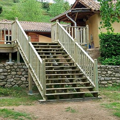 Deck-Linéa - Zanca para escalera de 7 peldaños (madera de pino tratada, altura 119 cm): Amazon.es: Bricolaje y herramientas