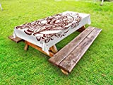 Ambesonne Ethnic Outdoor Tablecloth, Classic Blossom Swirls with Middle Eastern Arabian Bohemian Influences Pattern, Decorative Washable Picnic Table Cloth, 58 X 84 Inches, Brown and White