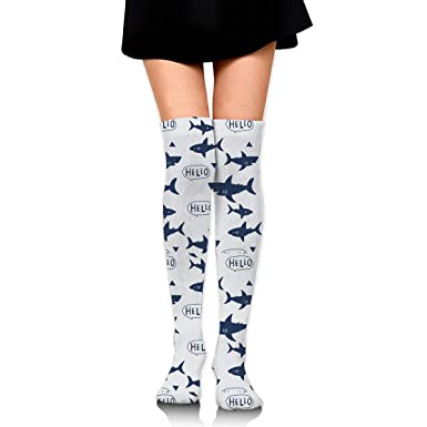 cdb7e18aac6f0 Shark Long Tight Thigh High Socks Over The Knee High Boot Stockings Leg  Warmers at Amazon Women's Clothing store: