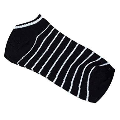 1Pair Short Sock Unisex Stripe Cotton Sock Comfortable Slippers Short Men Calcetines,Black,