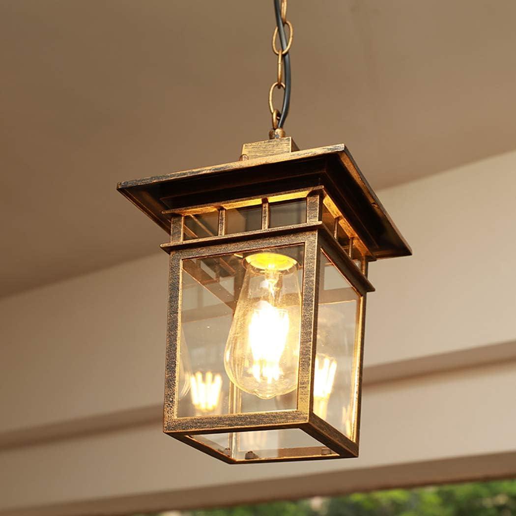 1 lámpara colgante de luz colgante con pantalla de vidrio transparente, araña de jaula de hierro de estilo retro al aire libre para pérgola de jardín de pasillo,Bronce