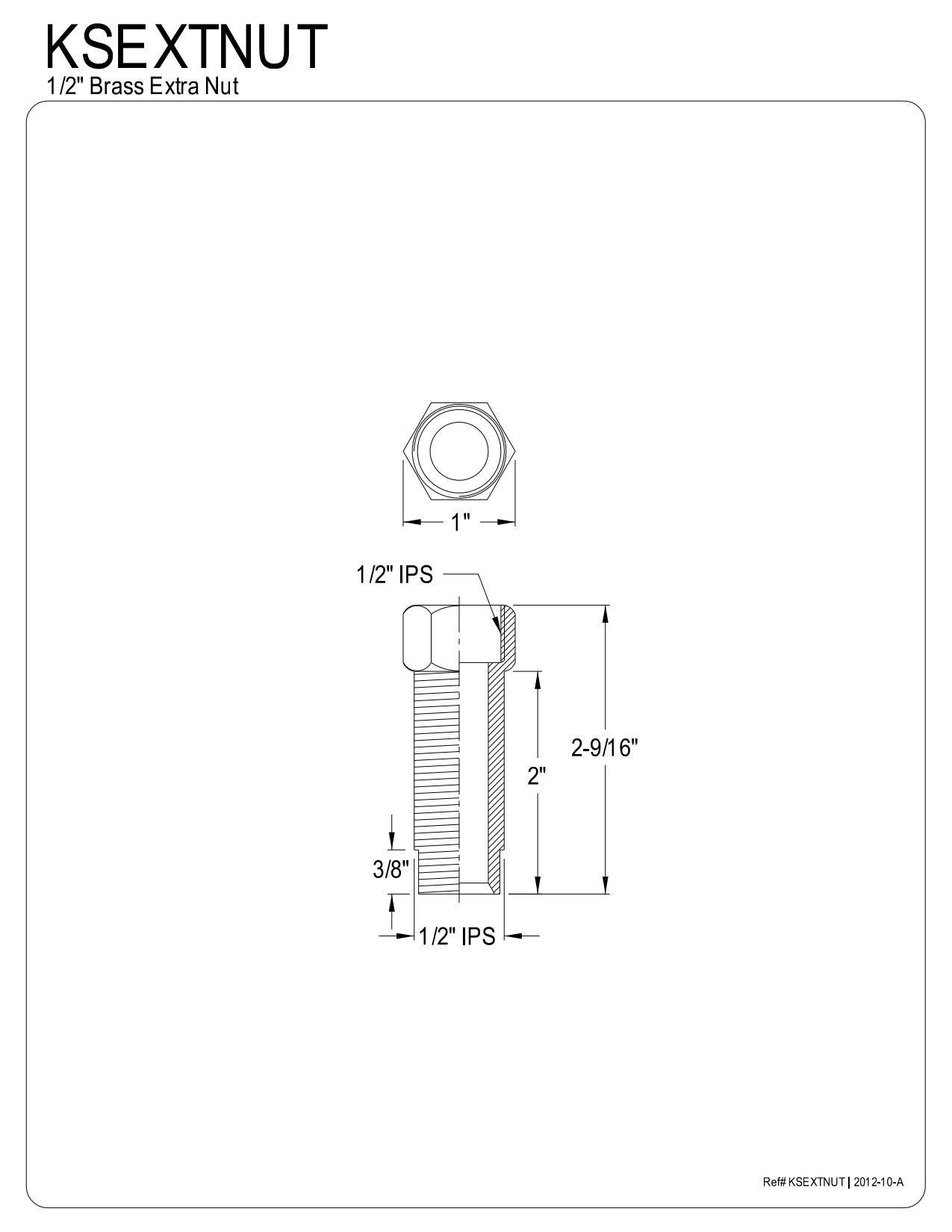 Kingston Brass KSEXTNUT Brass Extension Nut 1/2-Inch Shank