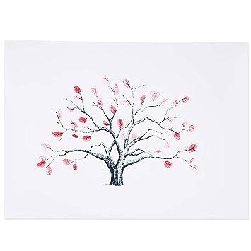 Farbe : TYPE2# 4 Arten Fingerabdruck Baum kundenspezifisches Hochzeits G/ästebuch Hochzeits G/ästebuch Plakat mit 6 Farben Tinte