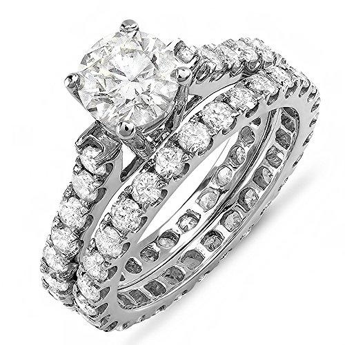 Dazzlingrock Collection 1.50 Carat (ctw) 14K Round Diamond Ladies Semi Mount Engagement Set 1 1/2 CT, White Gold, Size 7