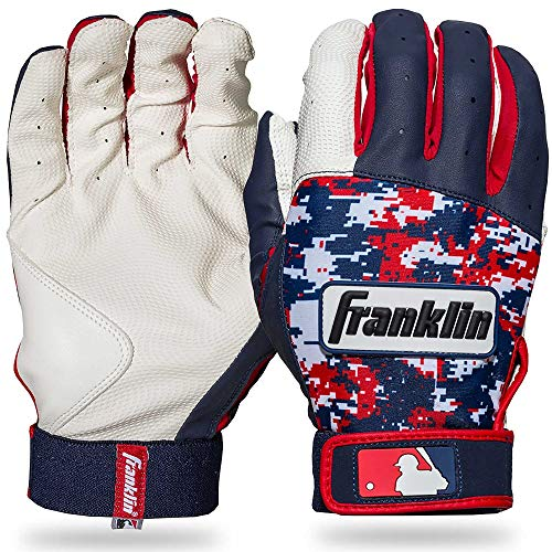 Franklin Sports MLB Digitek Baseball Batting Gloves - White/Navy/Red Digi - Youth Small
