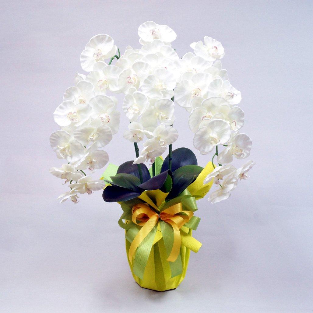 高級胡蝶蘭3本立ち(光触媒)シルクフラワー造花 (ホワイト) B0159SCUQ4 ホワイト ホワイト