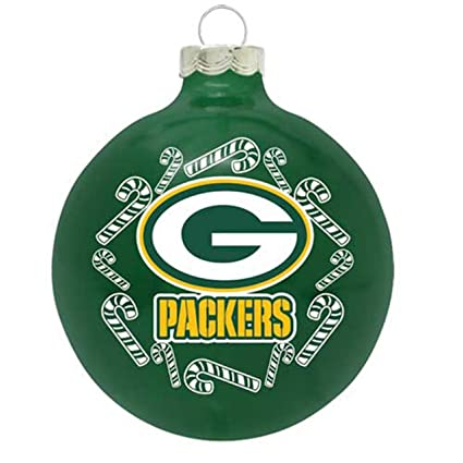 topperscot green bay packers 2 58 painted round candy cane christmas tree - Green Bay Packers Christmas Ornaments