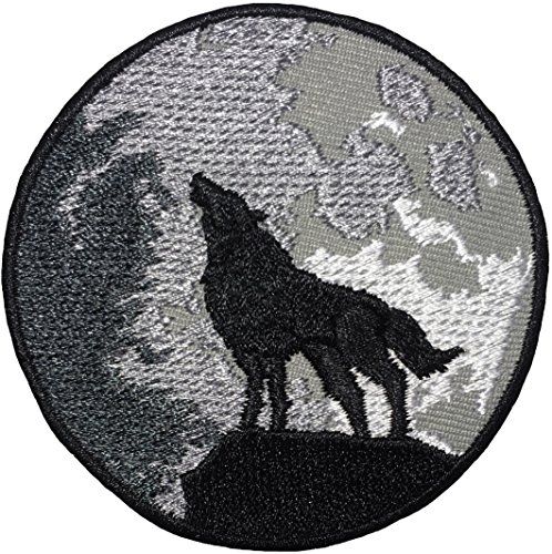 Papapatch Lone Wolf Full Moon Howling Sew on Iron on Embroidered Applique Badge Sign Patch (IRON-WOLF-HOWLING) (Wolf Patches Vest)