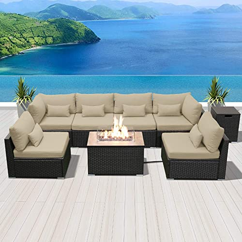 Modenzi Outdoor Sectional Patio Furniture with Propane Fire Pit Table Espresso Brown Wicker Resin Garden Conversation Sofa Set G7 Sofa Rectangular Fire Pit, Light Beige