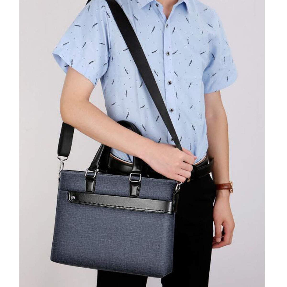 Yougou01 Briefcase Business Travel Suitable for Travel Color : Black Etc Blue Size: 35726cm Quality Assured 2019 New Cross-Section Mens Handbag