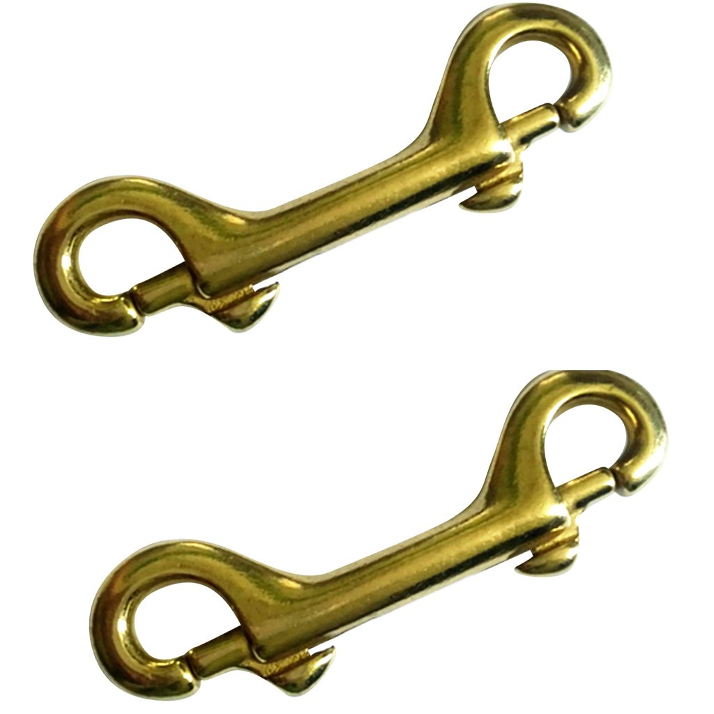 LEIPUPA 2 Pieces Solid Brass Double End Snap Trigger Hook Keychain Gate Hooks 3-1//2