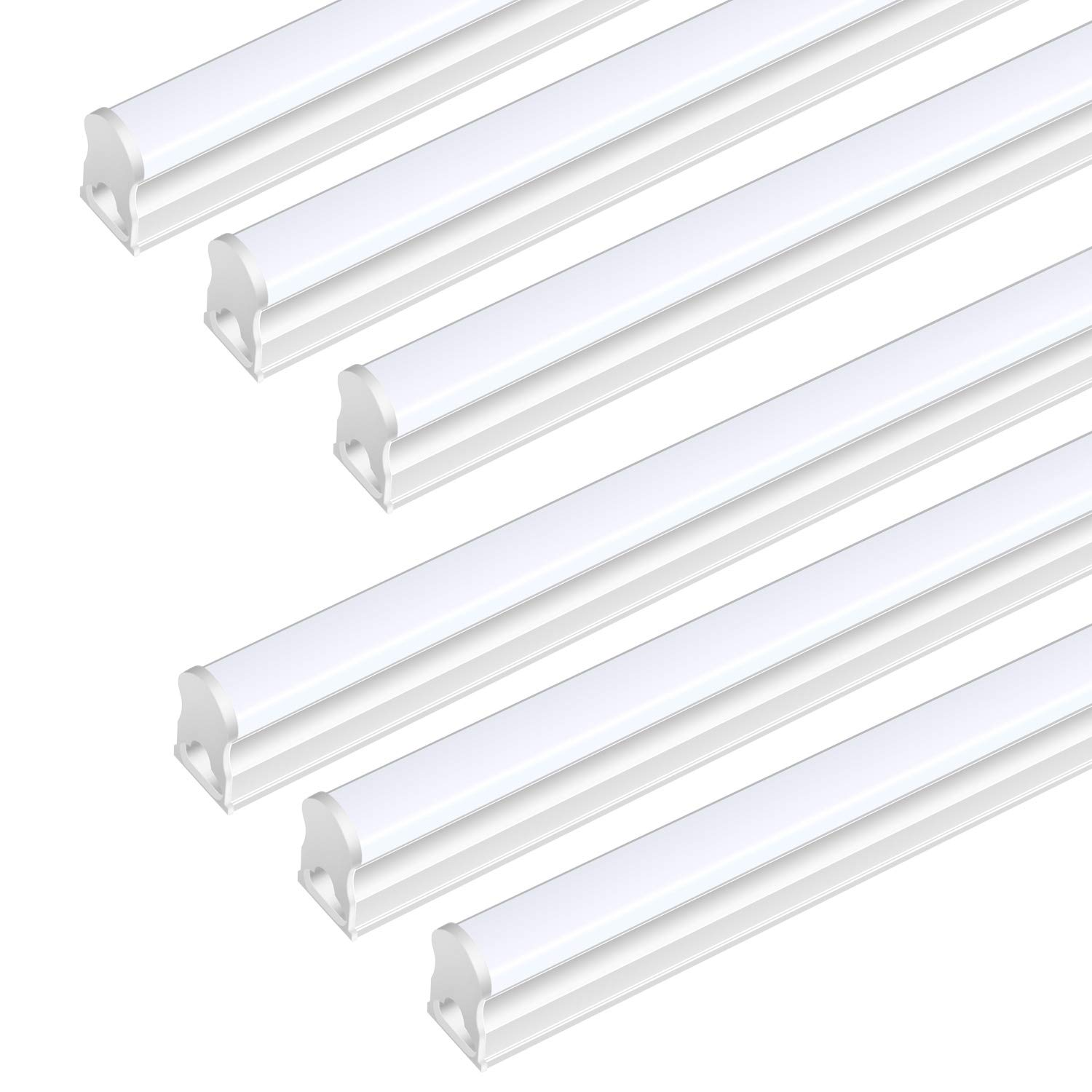 (Pack Of 6) DIKAIDA T5 Led Integrated Single Fixture, 4FT, 2000lm, 6500K(Super Bright White), 20W, Led Shop Lights with built-in On/Off Switch for Garage, Storage Area, Basement, Under Cabinet, Office