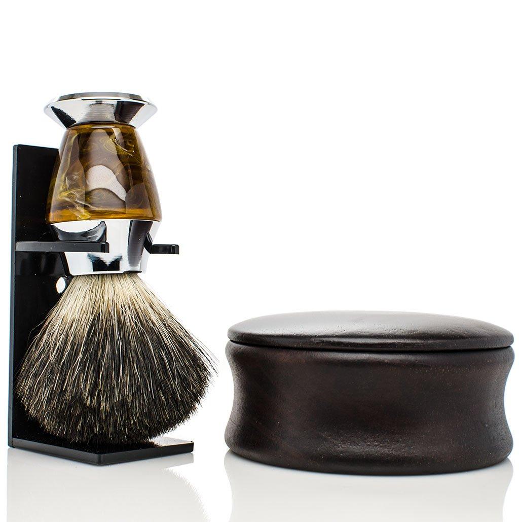 Shaving Kit for Men with Wood Shaving Bowl, Badger Brush and Organic Shaving Soap - Organic Shaving Kit - Shaving Soap Kit - Shaving Soap with Bowl - Badger Shaving Kit