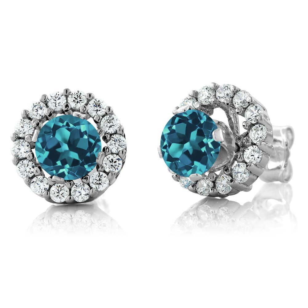 Gem Stone King London Blue Topaz 925 Sterling Silver Stud Earrings with Jackets (1.49 Cttw, 5MM Center Stone)