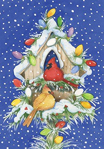 Toland Home Garden Cardinal Lights 28 x 40 Inch Decorative Winter Snow Christmas Bird Holiday Birdhouse House Flag