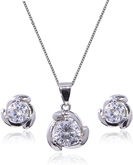Mycitta CZ Jewelry Set for Women - Small Cubic Zirconia Crystal Round Halo Bridal Necklace Earring Set Wedding Jewelry Set for Bride Bridesmaids Fashion Party Prom Jewelry Set for Girls