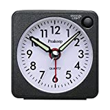 Ultra Small, Peakeep Battery Travel Alarm Clock with Snooze and Light, Silent with No Ticking Analog Quartz (Black)