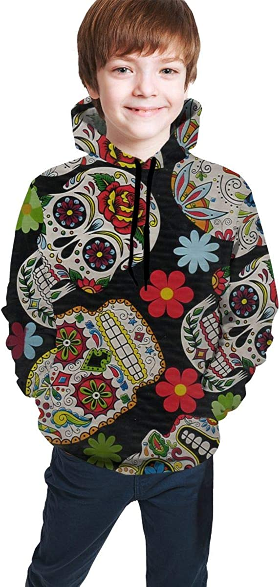Sugar Skull with Flowers Students Hoody Sweater Pullover Drawstring Pocket Stylish Sports Shirt for Teen