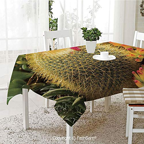 AmaUncle 3D Dinner Print Tablecloths Photo of Cactus Plant Flower with Spike Botanic Desert Garden Floral Image Kitchen Rectangular Table Cover (W60 xL104)]()