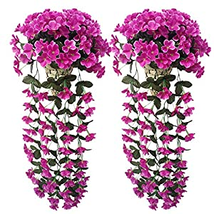 Meitan Artificial Violet Hanging Flower, Silk Violet Flower Garland Hanging Basket Decorative Plant Home Outdoor Wedding Arch Garden Wall Décor 82