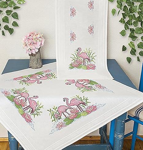 Tischl/äufer 40x100 cm Kamaca Stickpackung Flamingos Kreuzstich vorgezeichnet aus 100/% Baumwolle zum Selbersticken