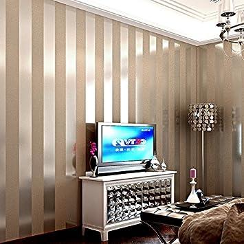 LXPAGTZ Einfache moderne Vlies-Tapete Schlafzimmer Wohnzimmer schwarzen und  weißen vertikalen Streifen blau Östliches Mittelmeer Wand Tapete lange 9.5  ...