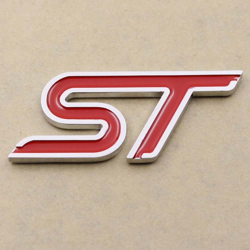 Logo 3D en m/étal rouge St embl/ème Logo Sticker pour Ford Focus ST