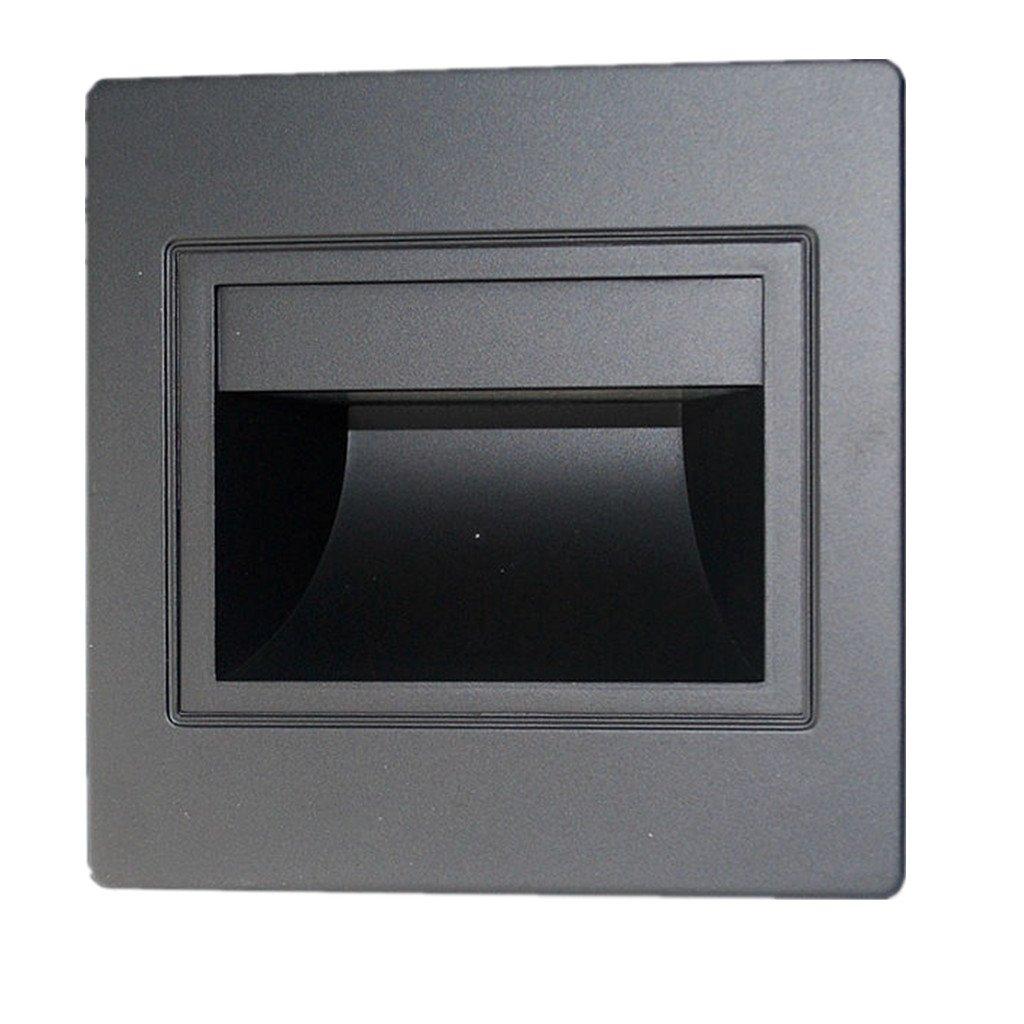 Baoblaze Footlight Extérieur LED Encastrable Spot Spotlight LED Décoration Maison Magasin Cinéma 1.5W Noir 1