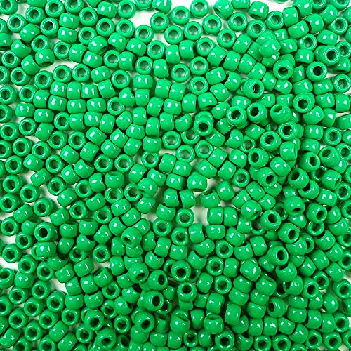 Green Opaque Plastic Craft Pony Beads, 6 x 9mm, 500 Beads -