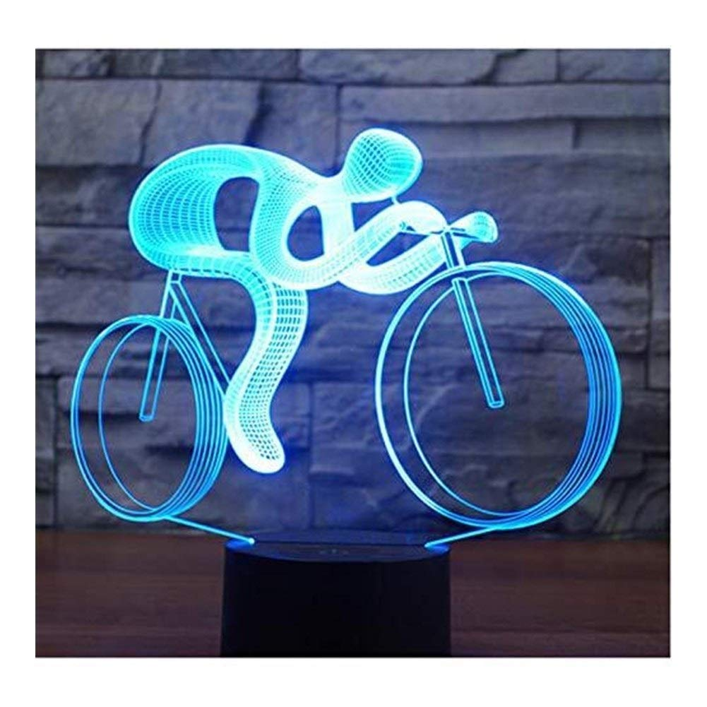 JINXUXIONGDI Visual Stereo Vision 3D Led Luminous Cycling with 7 Colors of Light for Home Furnishing Lights Amazing Visual Optical Illusion Children's Decoration