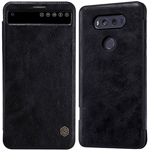 LG V20 Window View Auto Wake/Sleep Case,Nillkin Premium PU Leather Slim Folio Flip Cover LG V20 Case,[Qin] Synthetic Leather Hard PC Inner Shell Hybrid Folio Case for LG V20 - Leather Nillkin Case
