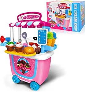 Gizmovine Ice Cream Toy (31 pcs) Pretend Food Truck Toy Play Set Ice Cream Cart for Toddler Girls 5,4,3,2 Year Old