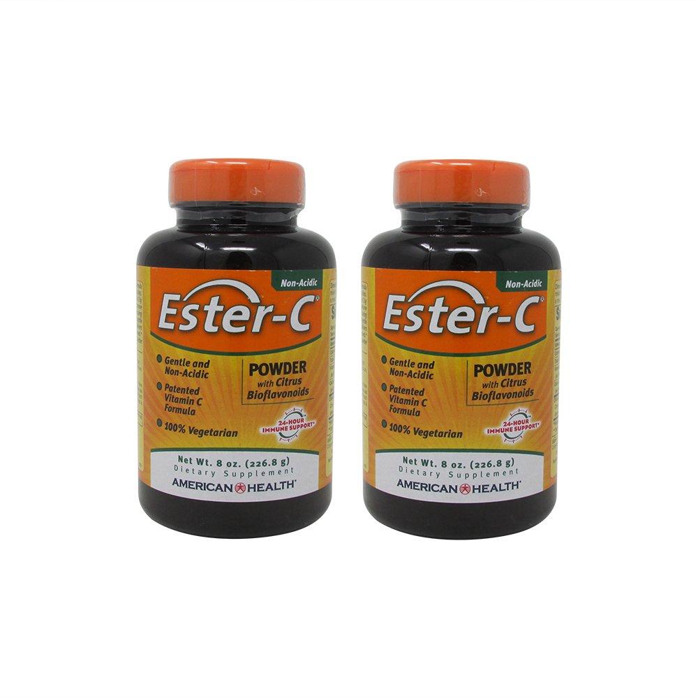 Bundle-2 Items : American Health Ester C Powder with Citrus Bioflavonoids, 8 Oz (Pack of 2)