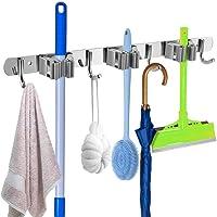 ValueHall Broom Mop Holder 3 Racks 4 Hooks Mop Holder Garden Tool Organizer Stainless Steel Wall Hooks for Home, Kitchen…