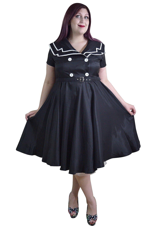 Skelapparel Plus Size Pinup Vintage Sailor Black Satin Flare Swing ...