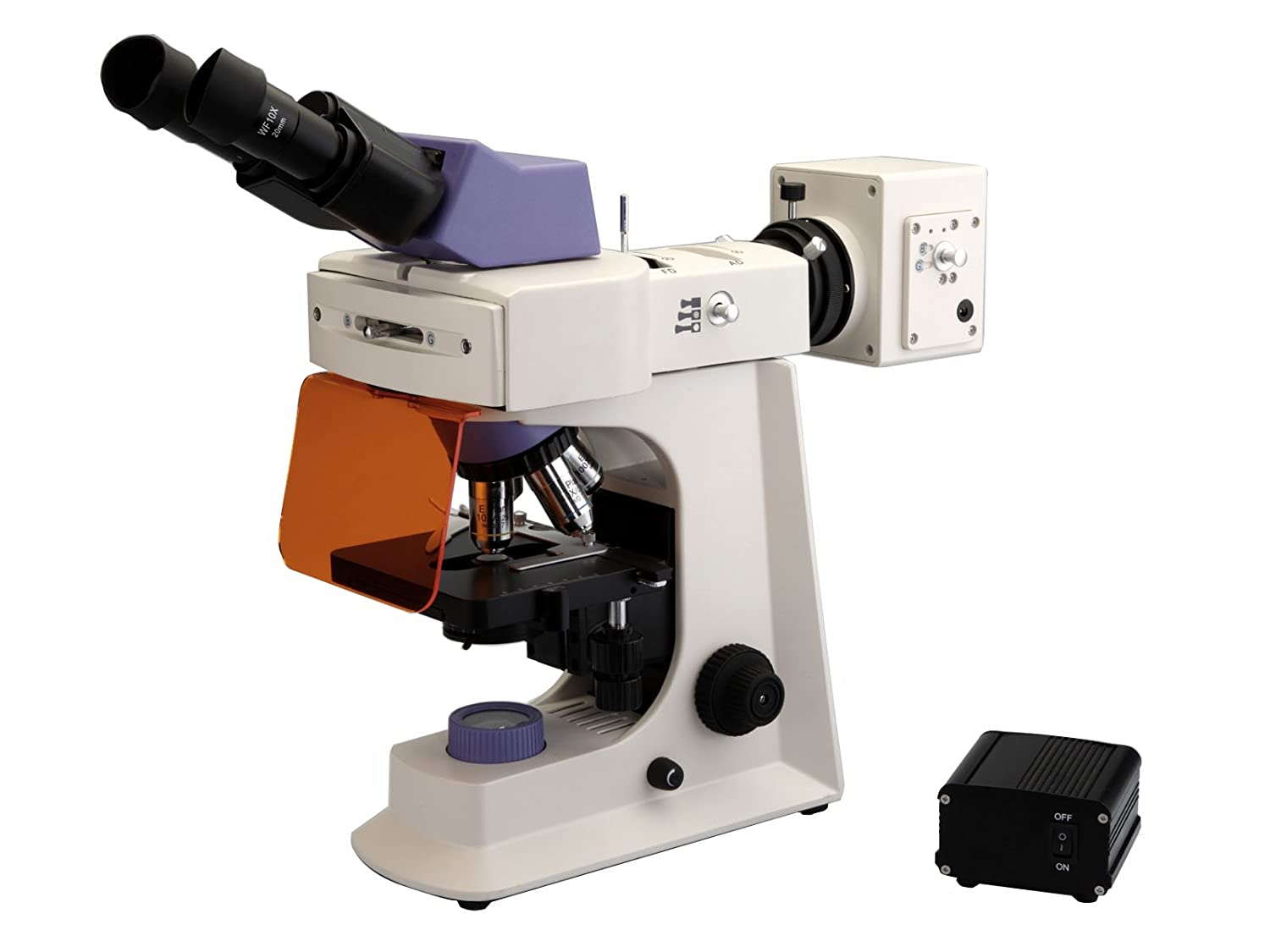 BestScope BS 2036FT LED Fluorescence Trinocular Compound Microscope WF10x Eyepieces Infinity Plan Objectives 40x 1000x Magnification LED and Halogen Illumination Abbe Condenser Iris Diaphragm Mechanical Stage 110V