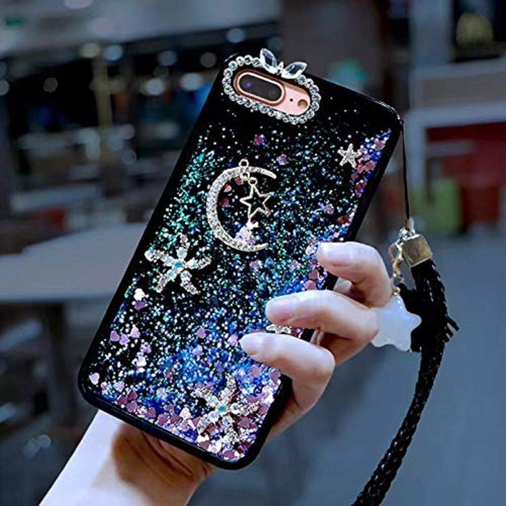 Cute Star Moon Case for Samsung Galaxy A80/A90,Aoucase Luxury 3D Diamond Glitter Crystal Quicksand Soft Bumper Hand Strap Liquid Case with Black Dual-use Stylus,Purple by Aoucase
