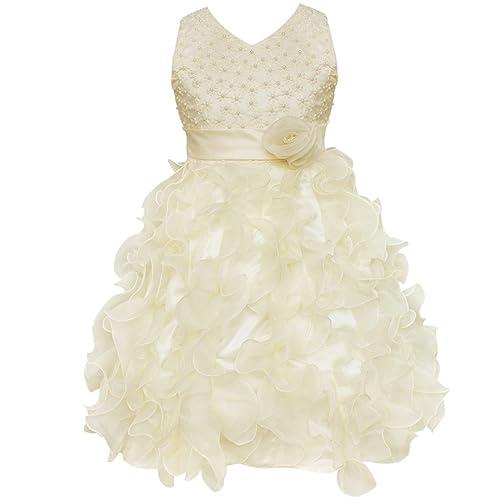 iEFiEL Kids Girls Beading V-Neck High Waist Ruffle Organza Wedding Bridesmaid Flower Dress