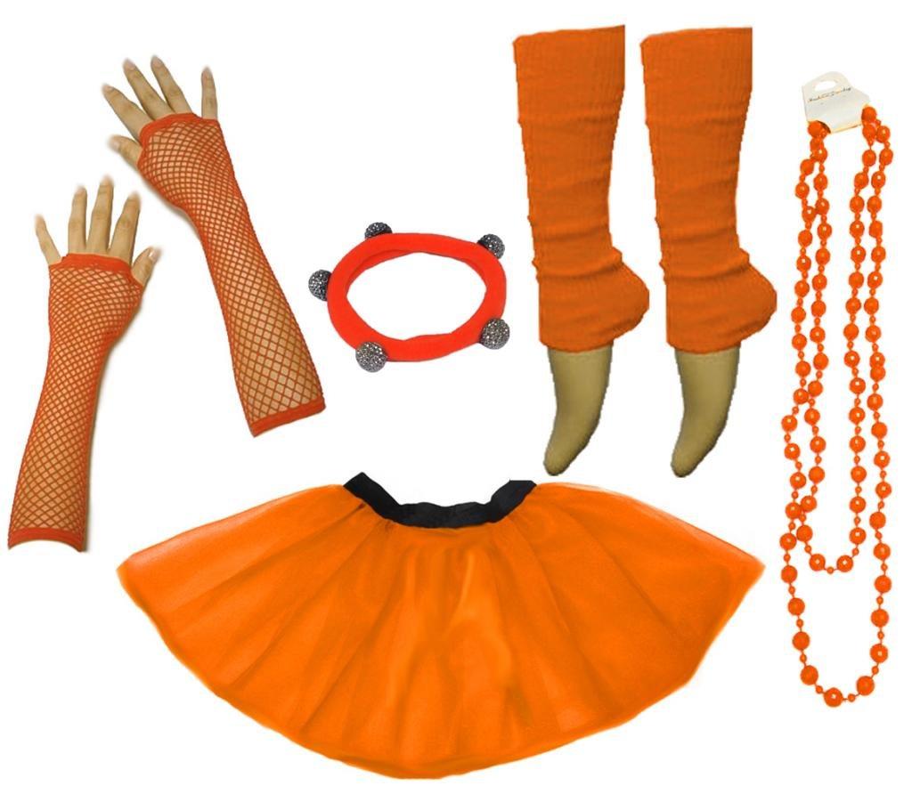 36-44, Blau A-Express Frauen kost/üm 80er Jahre Neon Tutu Beinstulpen Fischnetz Handschuhe T/üllrock Karneval T/üll Damen Fluo Ballett Verkleidung Party Tutu Rock Kost/üm Set