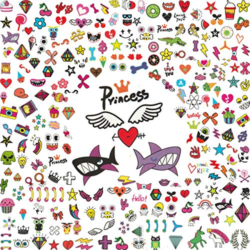 Foxjoy Temporary Tattoos for Kids, 200 Designs, 30 Sheets, 4.2X 2.5 inches (B)]()