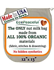 Nut Milk Bag - ALL 100% Organic Cotton (Fabric, Stitches, Drawstring) - No Hidden Synthetic Like Other Bags (READ OUR FAKE ORGANIC WARNING). DAIRY-FREE Recipes, Videos & Support
